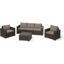 ALLIBERT CALIFORNIA 3 SEAT Lounge-Set, braun/beige 17198931