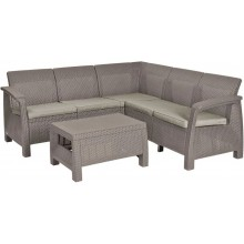 ALLIBERT CORFU RELAX Lounge-Set, cappuccino/sand 17202123