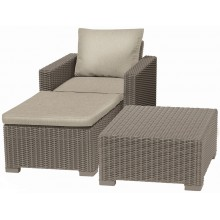 ALLIBERT MOOREA Lounge-Set (Sessel, Hocker, Tisch), Rattan, cappuccino/sand 17200418