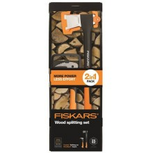FISKARS Set Spaltaxt X21 + WoodXpert Handsappie XA2, 1025438