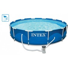 INTEX Metal Frame Pool 305 x 76 cm 28202GS+Kartuschenfilteranlage