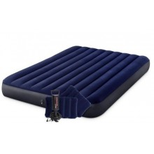 INTEX CLASSIC DOWNY AIRBED QUEEN Luftbett 152 x 203 cm + Kissenset + Luftpumpe 64765