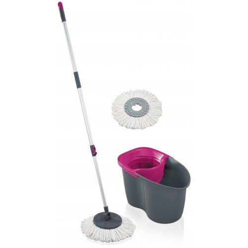 LEIFHEIT zestaw Rotation Disc Mop grey pink 55267
