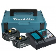 MAKITA Power Source Kit 18V 3Ah, 2x Akku BL1830B + Ladegerät DC18RC, 197952-5