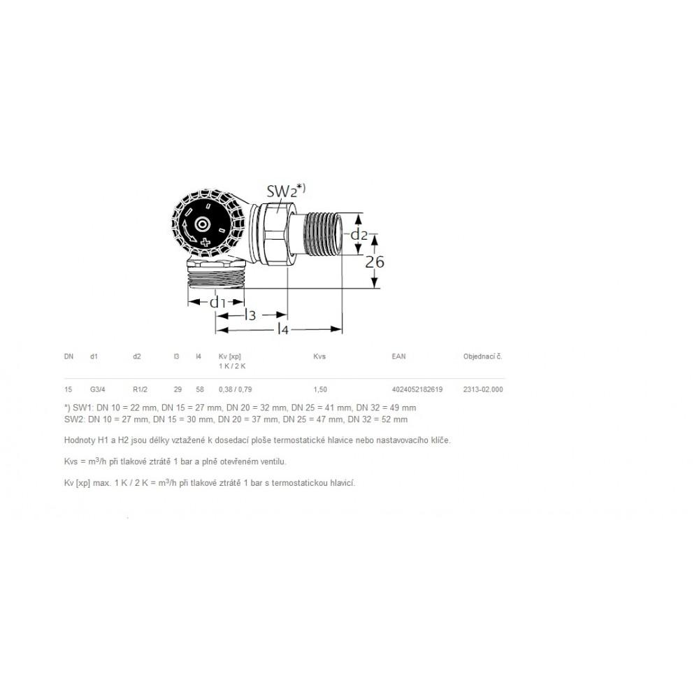 Heimeier thermostat ventilunterteil winkeleck links 2313 for Heimeier italia
