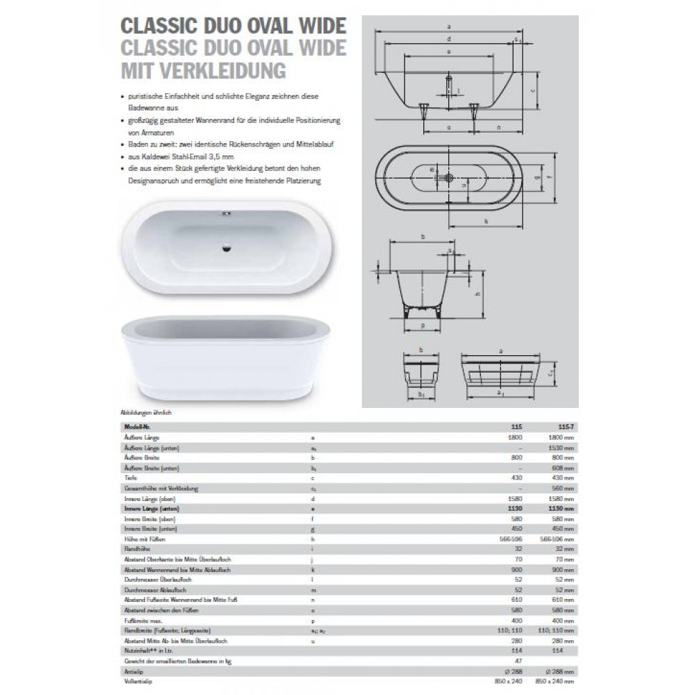 kaldewei classic duo oval wide 115 ovale badewanne wei 5 180x80x43 291600010001. Black Bedroom Furniture Sets. Home Design Ideas