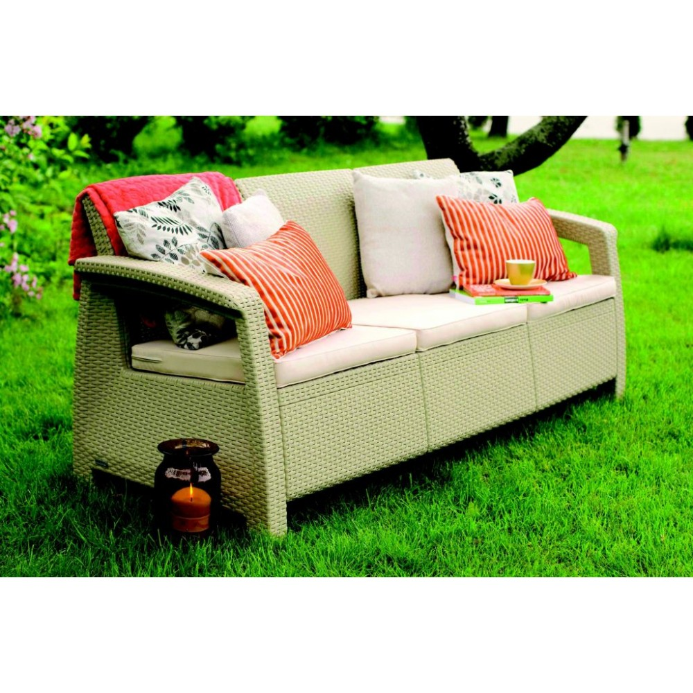 allibert corfu love seat 3 sitzer sofa cappuccino sand 17197959. Black Bedroom Furniture Sets. Home Design Ideas