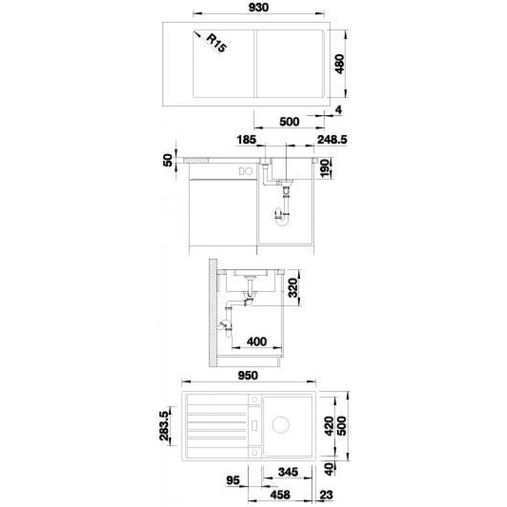 blanco lexa 5 s silgranit granitsp le tartufo 518649. Black Bedroom Furniture Sets. Home Design Ideas