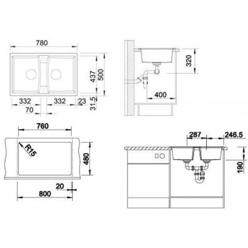blanco lexa 8 silgranit granitsp le ohne ablauffernbed perlgrau 520561. Black Bedroom Furniture Sets. Home Design Ideas