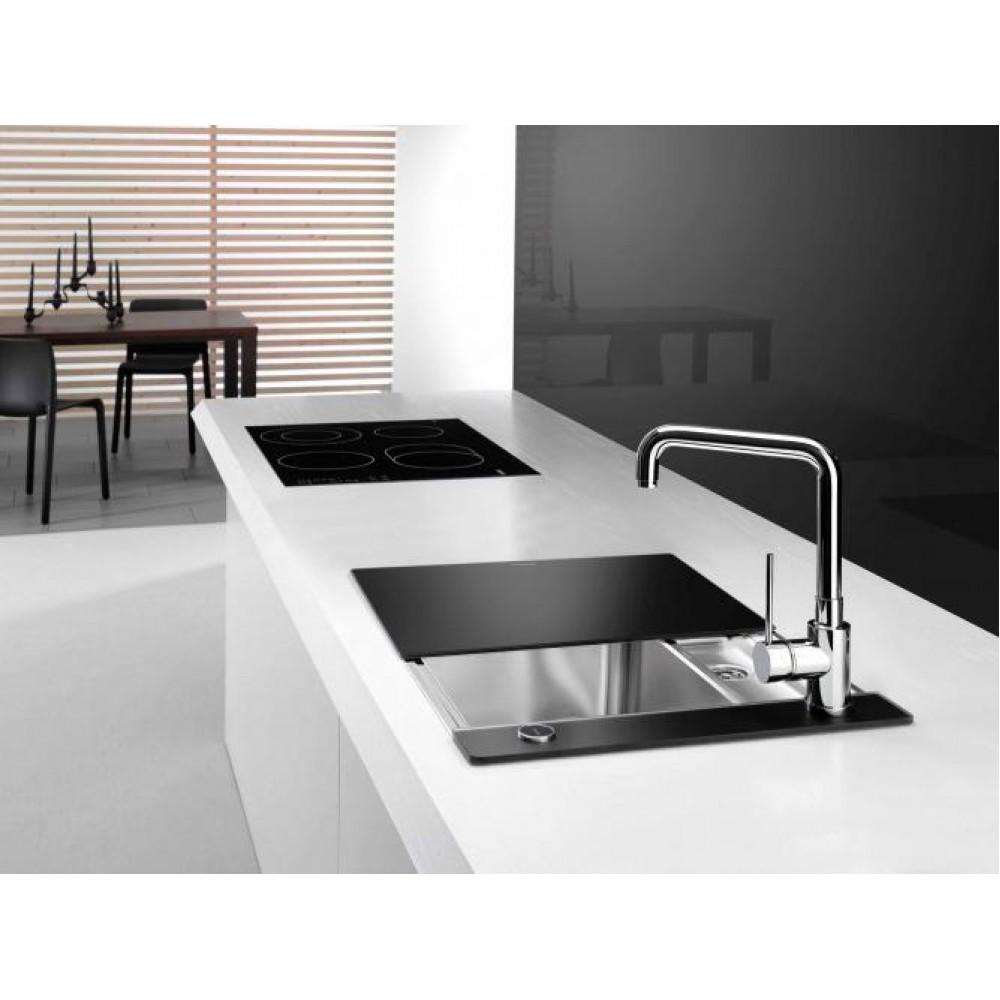 blanco statura 6 wenn crystal edelstahl sp le mit zubeh r schwarz 516029. Black Bedroom Furniture Sets. Home Design Ideas