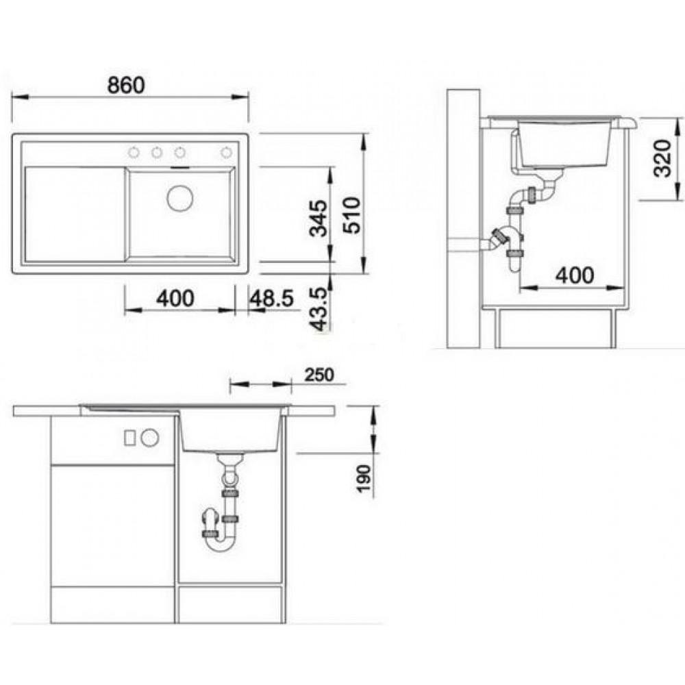 blanco zenar 45 s silgranit sp le anthrazit links 518468. Black Bedroom Furniture Sets. Home Design Ideas