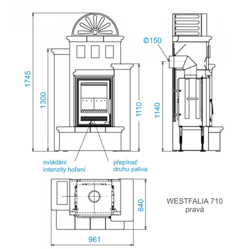 abx westfalia k 710 rechts kachelofen mit kombi einsatz. Black Bedroom Furniture Sets. Home Design Ideas