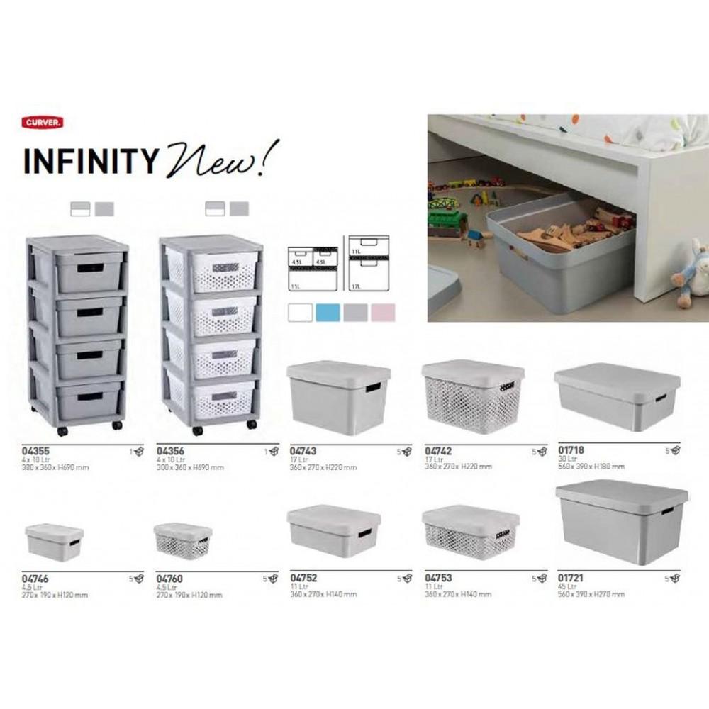 curver infinity aufbewahrungsbox mit deckel 4 5 l grau 04760 099. Black Bedroom Furniture Sets. Home Design Ideas