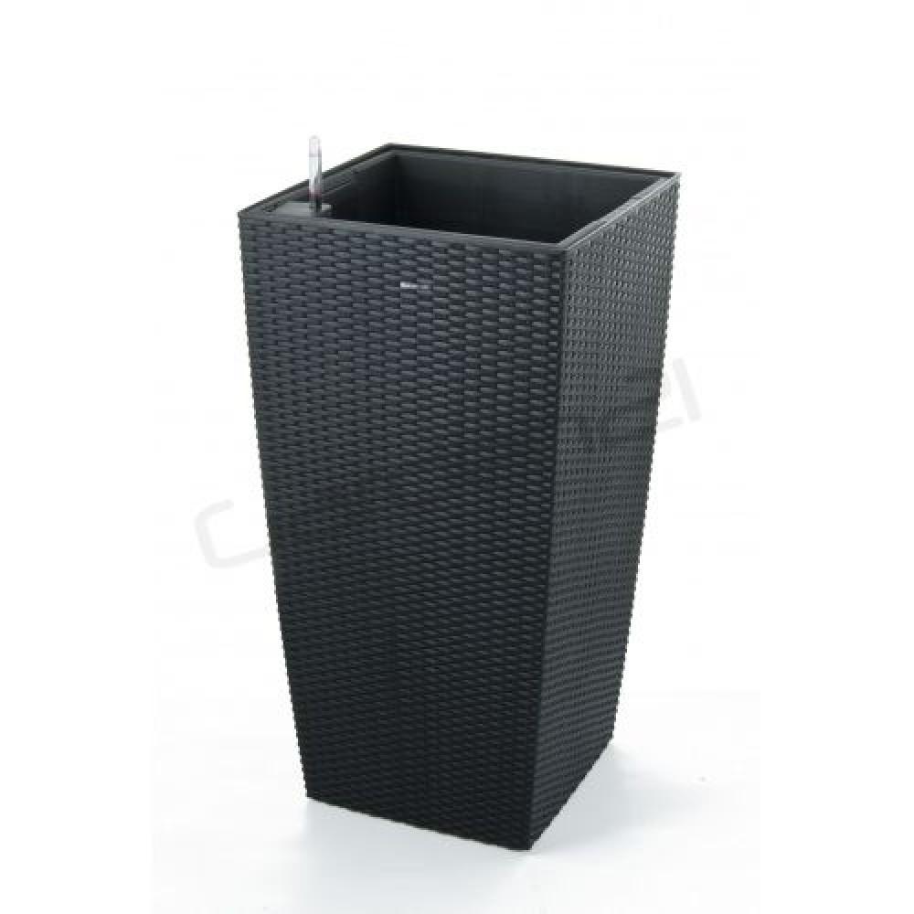 g21 blumentopf mit wasserspeicher rattan optik big schwarz 39 cm 6392463. Black Bedroom Furniture Sets. Home Design Ideas