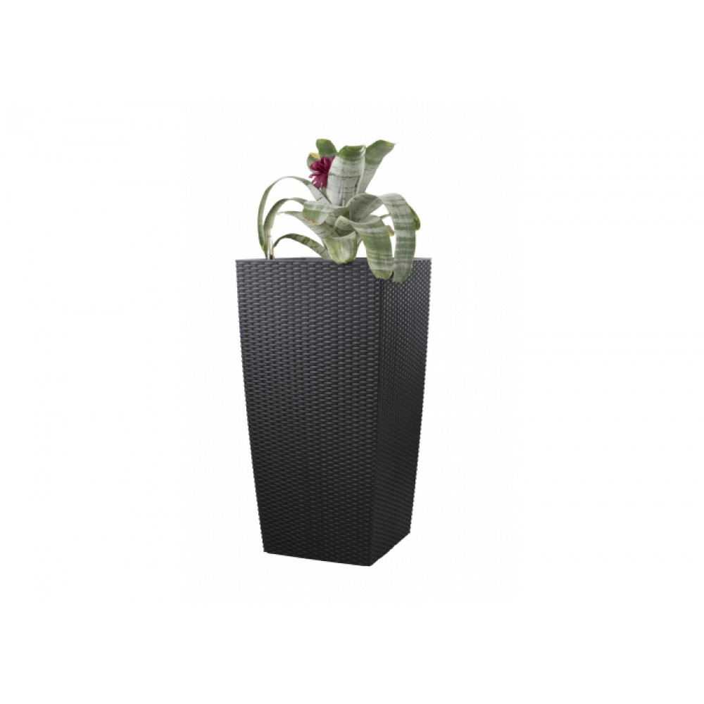 g21 blumentopf mit wasserspeicher rattan optik big schwarz 39 cm 63924630. Black Bedroom Furniture Sets. Home Design Ideas