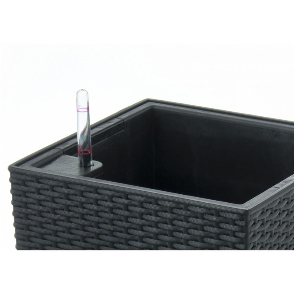 g21 blumentopf mit wasserspeicher rattan optik big schwarz. Black Bedroom Furniture Sets. Home Design Ideas