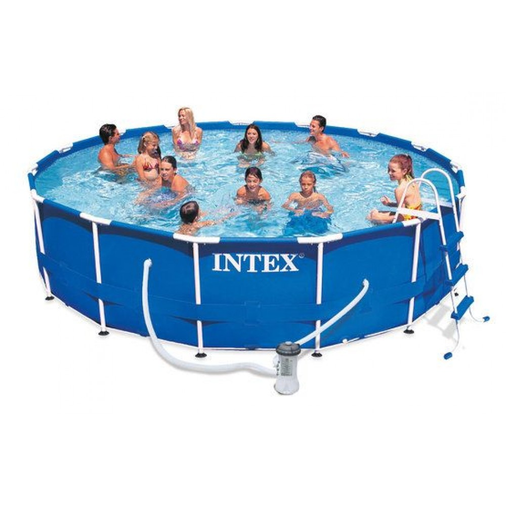 intex metal frame pool komplett 457x84 28228 28228gn. Black Bedroom Furniture Sets. Home Design Ideas