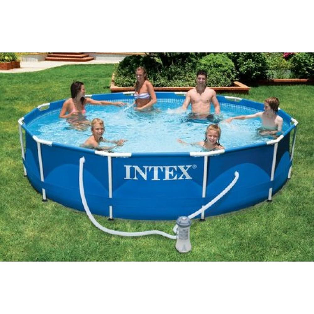 Intex metal frame pool o 366 x 76 cm 28212gn for Garten pool 366