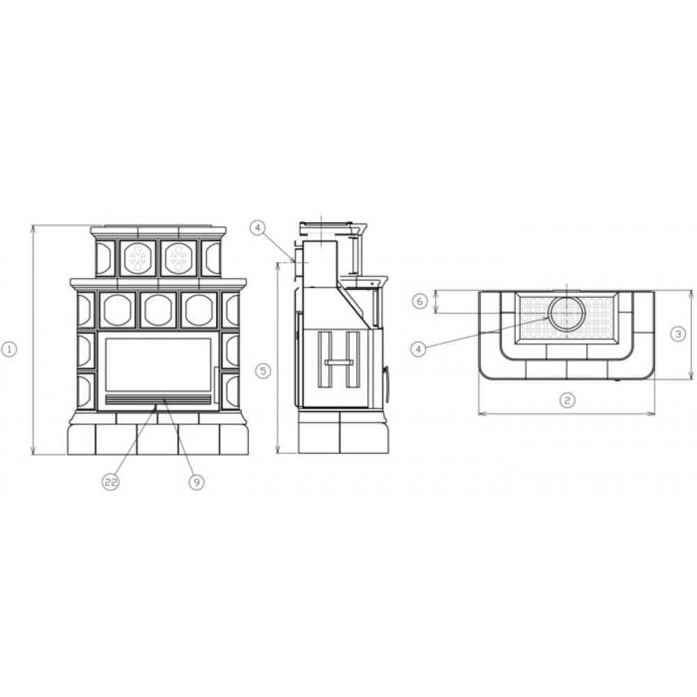 abx karelie kachelofen mit blech einsatz und kachelsockel gr n 3025kz. Black Bedroom Furniture Sets. Home Design Ideas