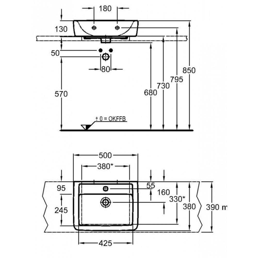 keramag renova nr 1 plan aufsatz handwaschbecken 50 cm. Black Bedroom Furniture Sets. Home Design Ideas