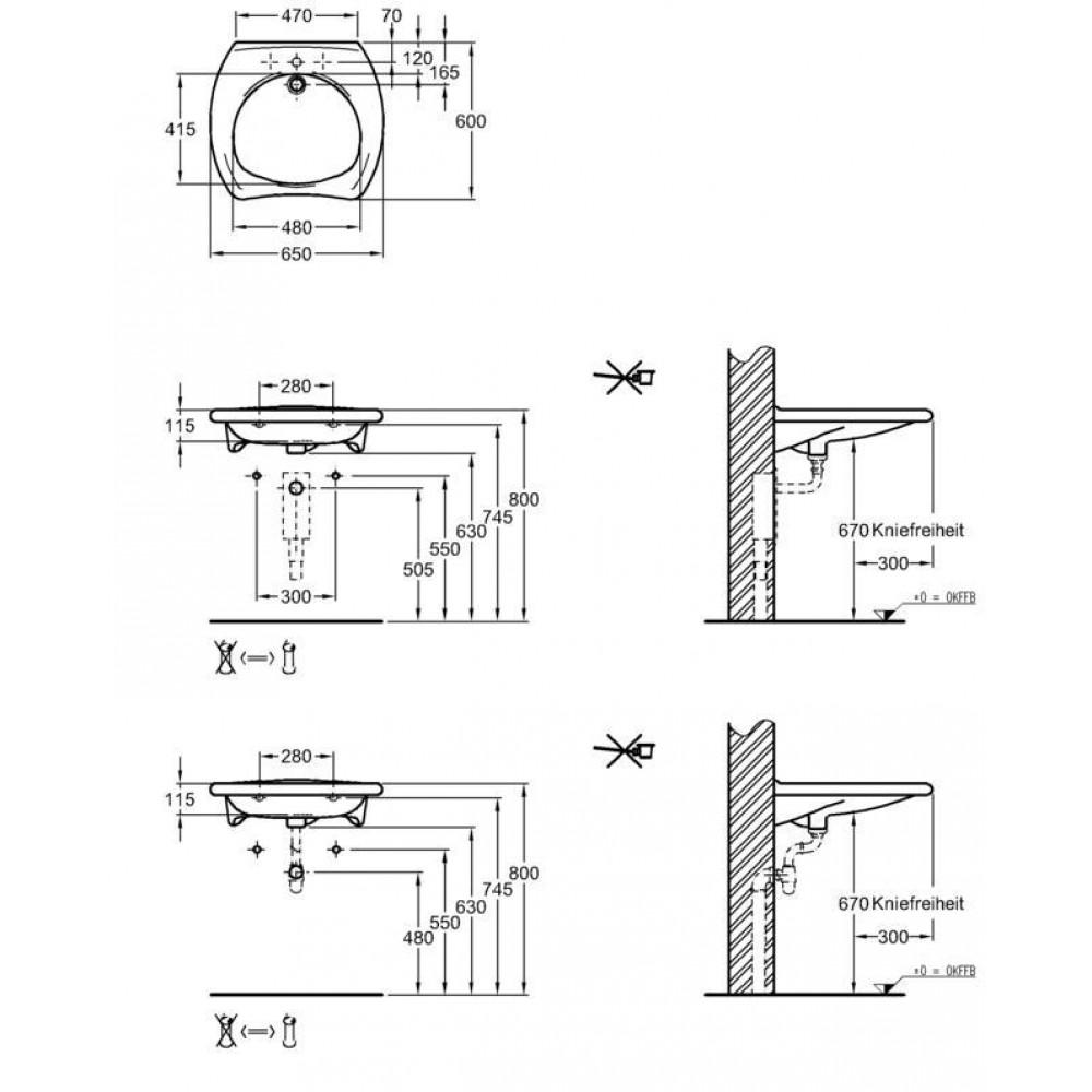 keramag vitalis waschtisch mit berlauf 65 x 60 cm 121765000. Black Bedroom Furniture Sets. Home Design Ideas