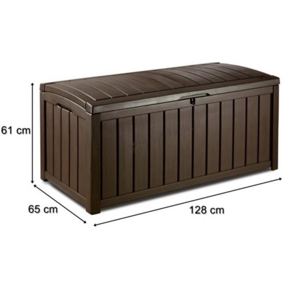 keter glenwood kissenbox holzoptik kunststoff braun. Black Bedroom Furniture Sets. Home Design Ideas