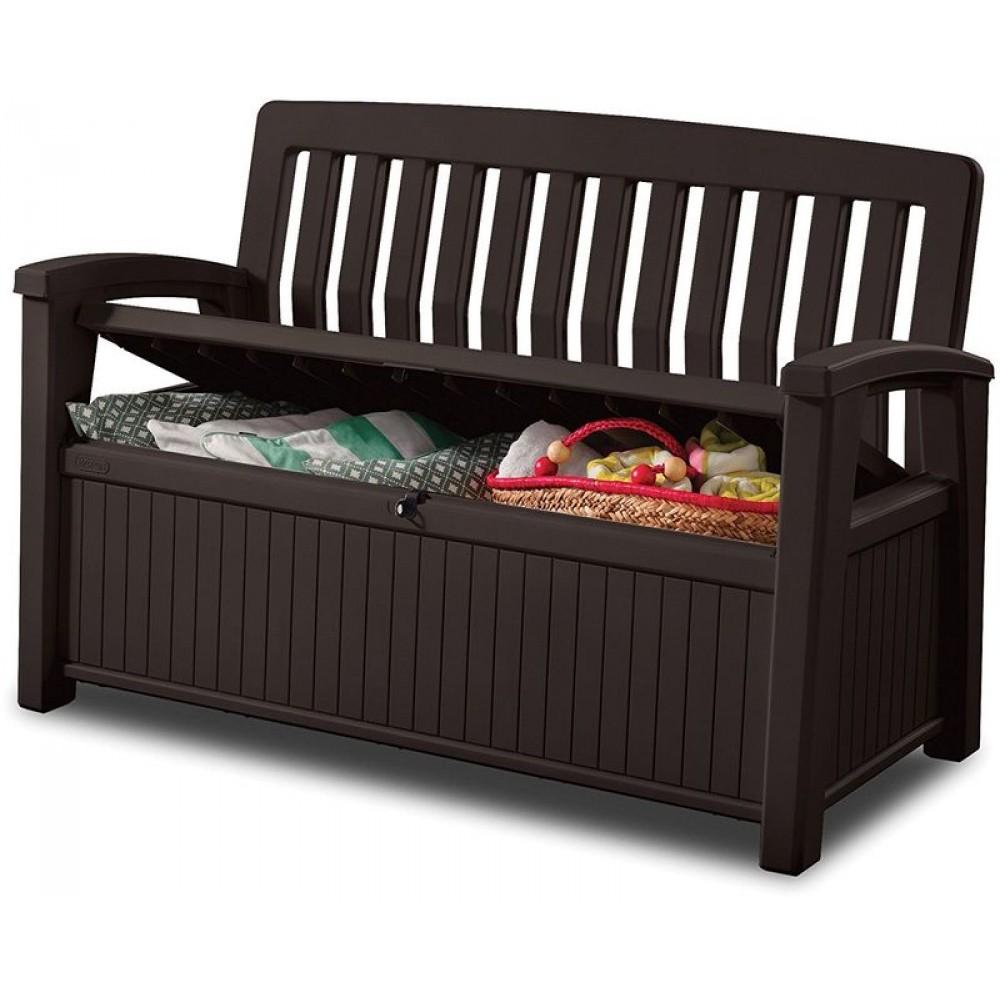 keter patio bench gartenbank kissenbox 227 l braun 17202690. Black Bedroom Furniture Sets. Home Design Ideas
