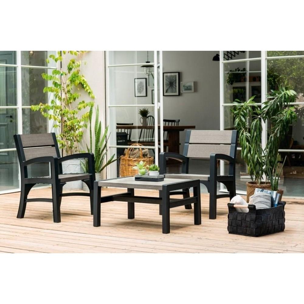 keter montero gartenbank 2 sitzer graphit grau 17204654. Black Bedroom Furniture Sets. Home Design Ideas