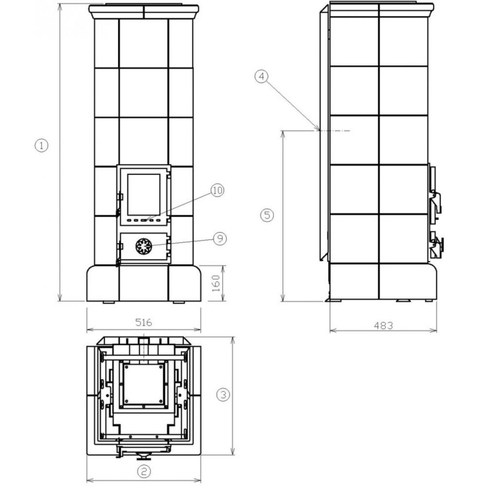 abx kopec kachelofen mit blech einsatz gr n 3024z. Black Bedroom Furniture Sets. Home Design Ideas