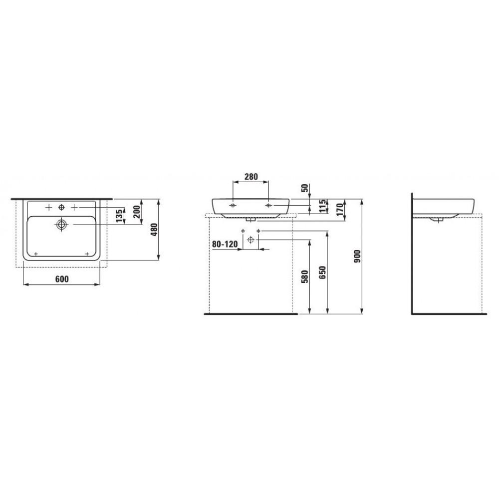 laufen pro a waschtisch 60x48 mit hahnloch 8179520001041. Black Bedroom Furniture Sets. Home Design Ideas