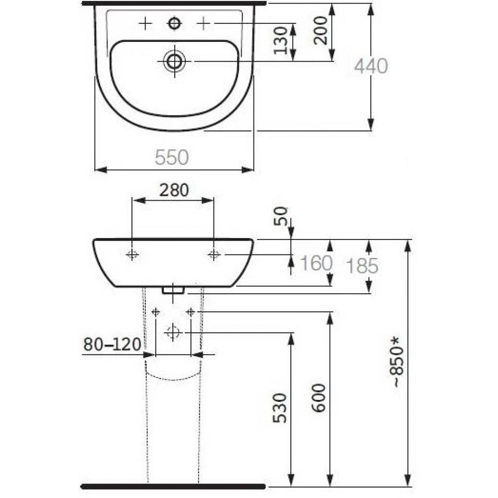 laufen pro b waschbecken ohne hahnloch und berlauf weiss. Black Bedroom Furniture Sets. Home Design Ideas