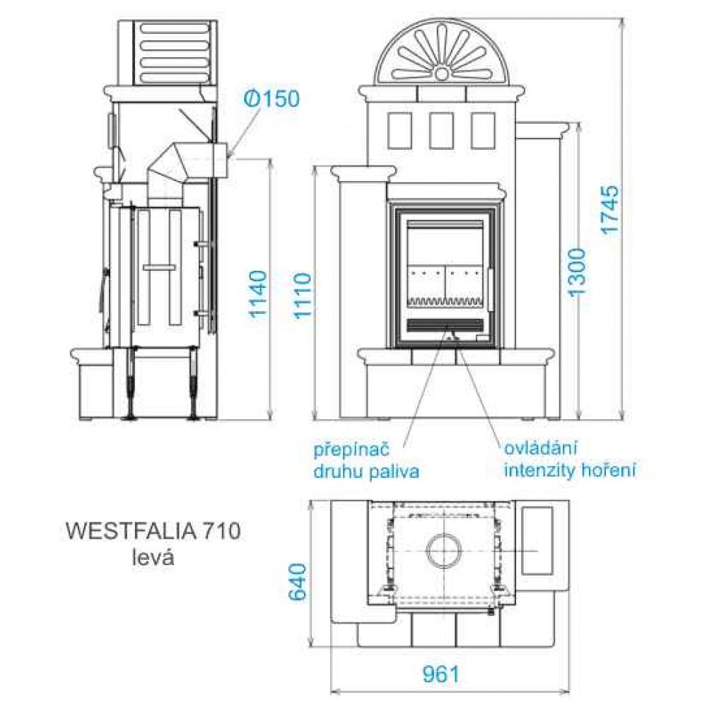 abx westfalia k 710 links kachelofen mit kombi einsatz. Black Bedroom Furniture Sets. Home Design Ideas
