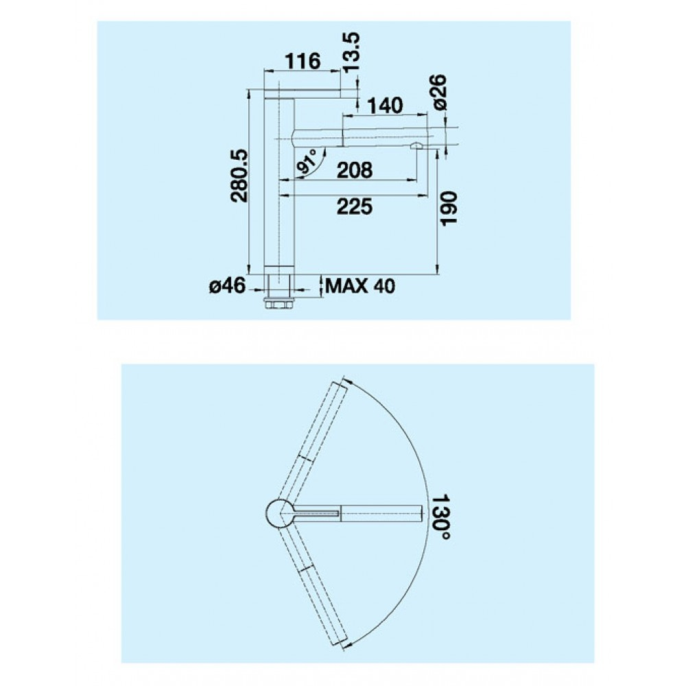 blanco linee s chrom 517591. Black Bedroom Furniture Sets. Home Design Ideas