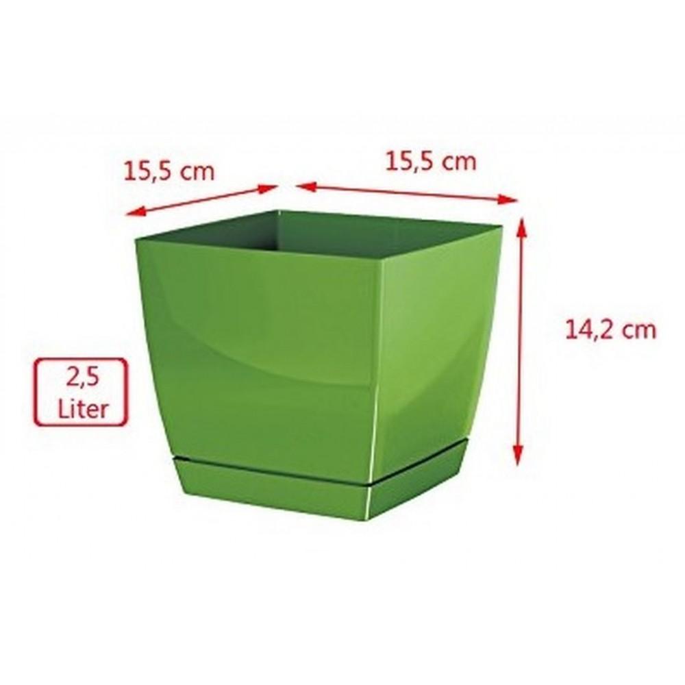 blumentopf viereckig coubi mit untersetzer 15 cm gl nzend creme dukp155. Black Bedroom Furniture Sets. Home Design Ideas