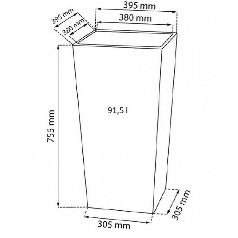 blumenk bel blumentopf rato square h 40 cm rattan optik inkl einsatz wei drts400. Black Bedroom Furniture Sets. Home Design Ideas