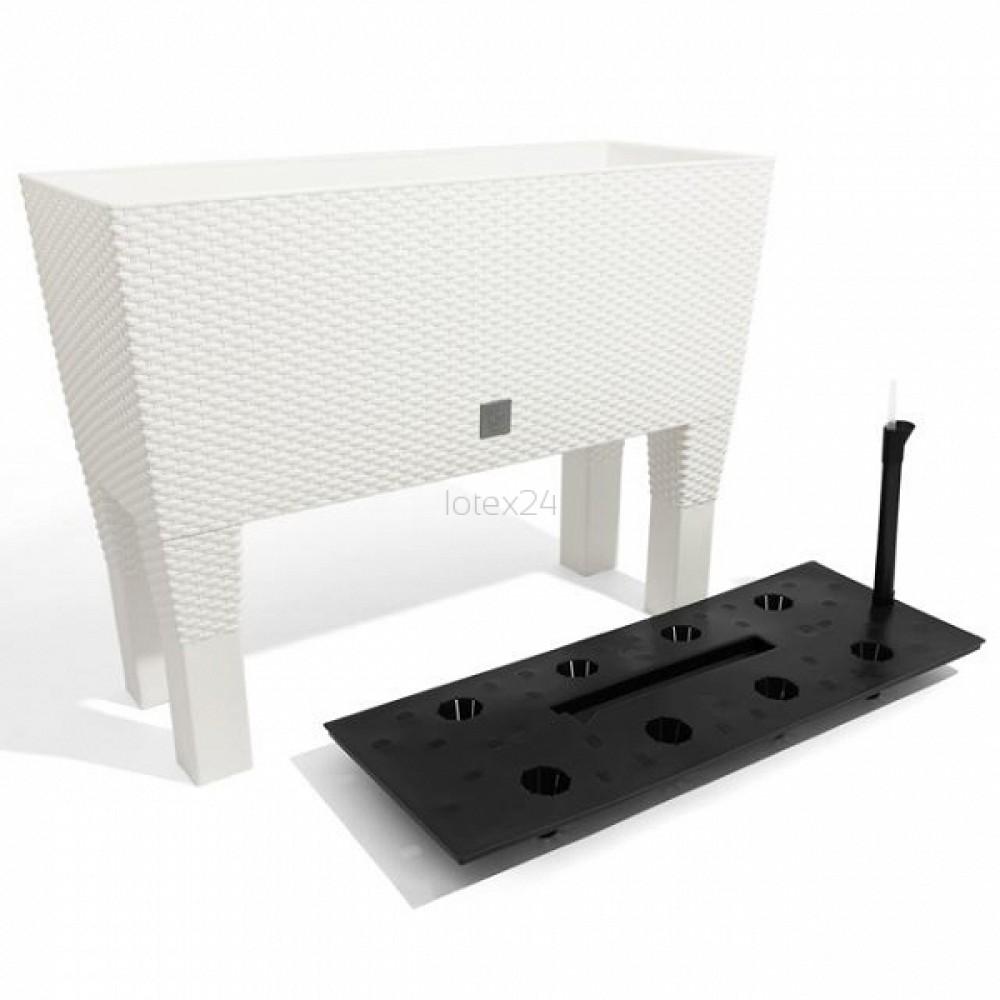 rato case high blumenkasten 60 cm rattan optik wei standfu wasserstandsanzeiger drtc600. Black Bedroom Furniture Sets. Home Design Ideas