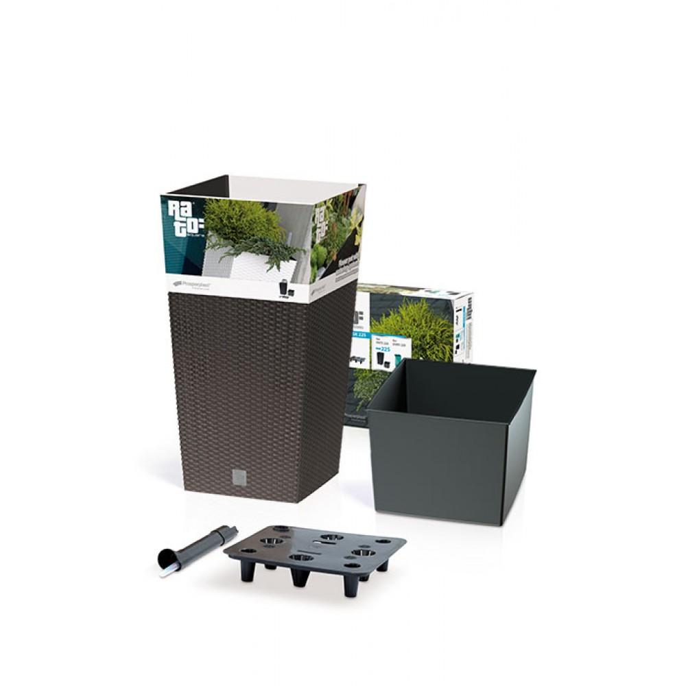 blumenk bel rato square 26 6 l rattan optik inkl einsatz. Black Bedroom Furniture Sets. Home Design Ideas