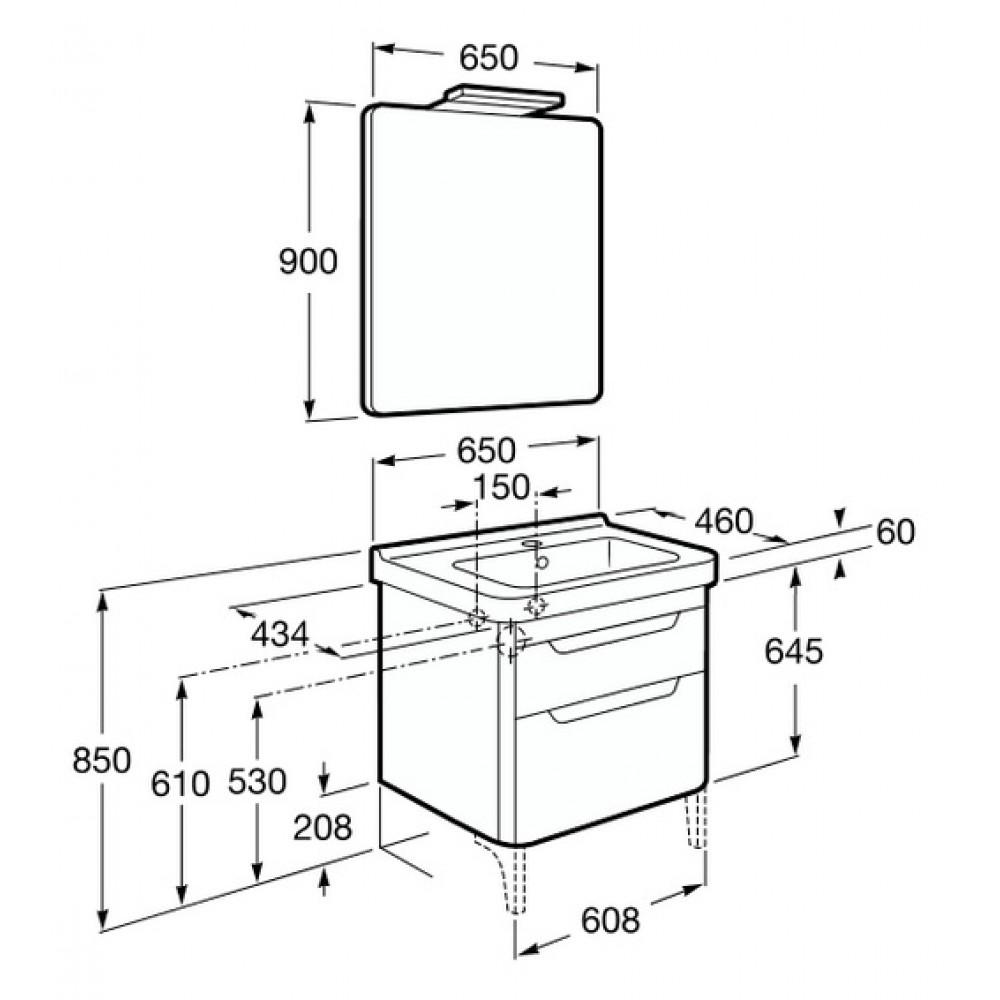roca dama waschtisch mit unterschrank 65 cm spiegel mit beleuchtung khaki 7855812149. Black Bedroom Furniture Sets. Home Design Ideas