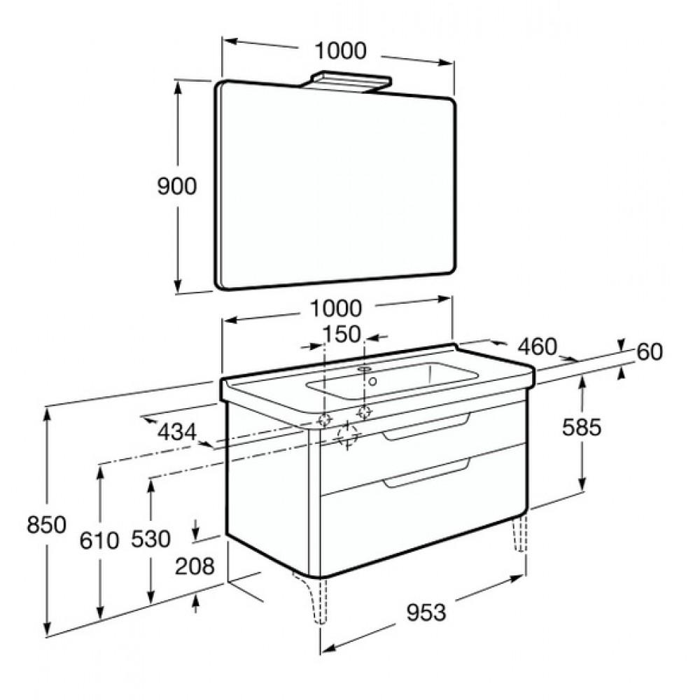 roca dama waschtisch mit unterschrank 100 cm spiegel mit. Black Bedroom Furniture Sets. Home Design Ideas