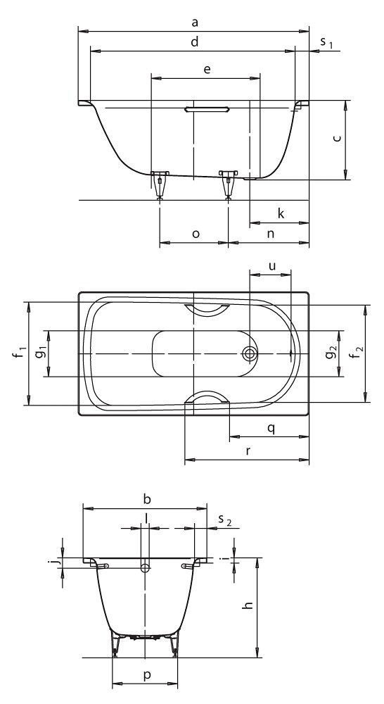 kaldewei saniform plus rechteck badewanne wei 140x75x48. Black Bedroom Furniture Sets. Home Design Ideas