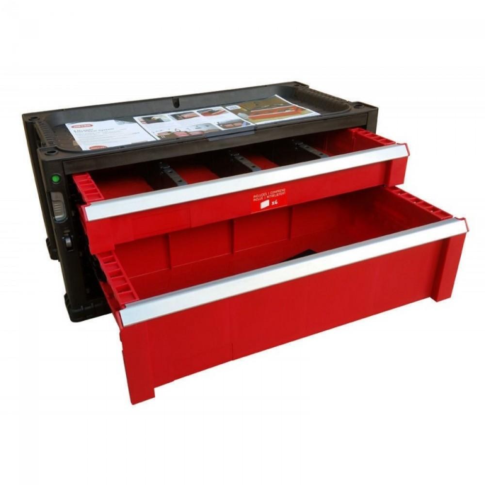 keter werkzeugkoffer mit 2 schubladen werkzeugkiste werkzeugkasten 17199303. Black Bedroom Furniture Sets. Home Design Ideas