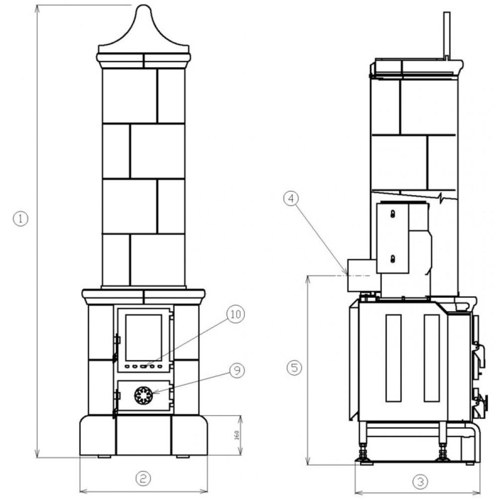 abx valdek kachelofen mit blech einsatz braun 3023h. Black Bedroom Furniture Sets. Home Design Ideas