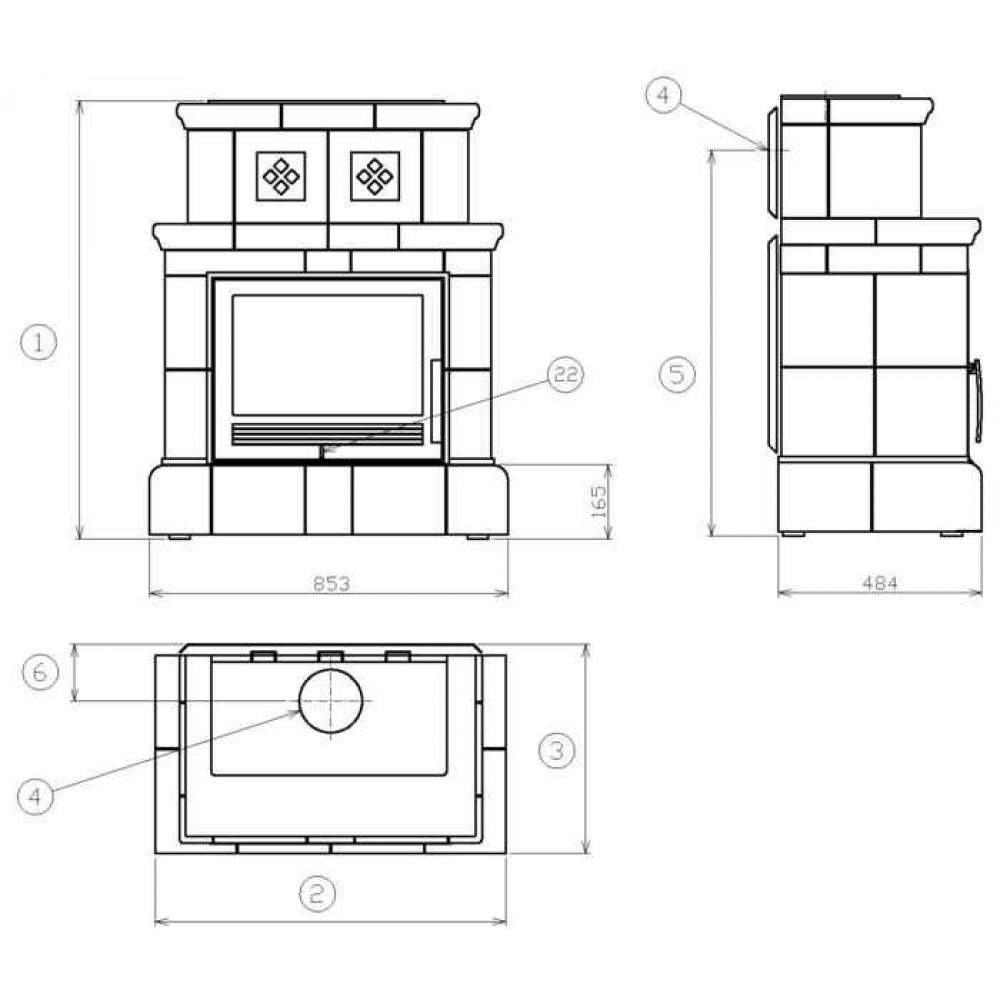 abx valencie kachelofen mit blech einsatz kachelsockel gr n. Black Bedroom Furniture Sets. Home Design Ideas